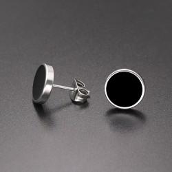 SHUANGR Fashion 1 Pair Round Shape Vintage Stud Earrings for Man Trendy Party Black Earrings Jewelry Men & Women Unisex