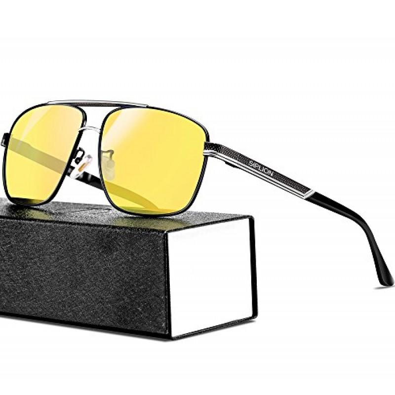 6eb3ffeac1f9a SIPLION Men s Driving Polarized Rectangular Square Sunglasses Metal Frame