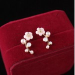 Shuangshuo 2017 New Fashion Crystal Earrings for Women Pearl Women Branch Shell Pearl Flower Stud Earrings Female