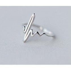Shuangshuo Vintage Heart Beat Rings for Women Adjustable Electrocardiogram Ring Simple ECG Party Fashion Jewelry Wave Ring