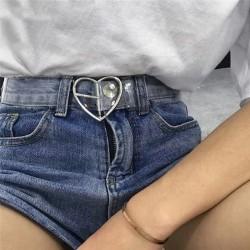 Silver Gold Heart Buckle Waist Belts Women Transparent Corset Belt Ladies Elastic Harness Cinture Femme Transparent Belt Q2
