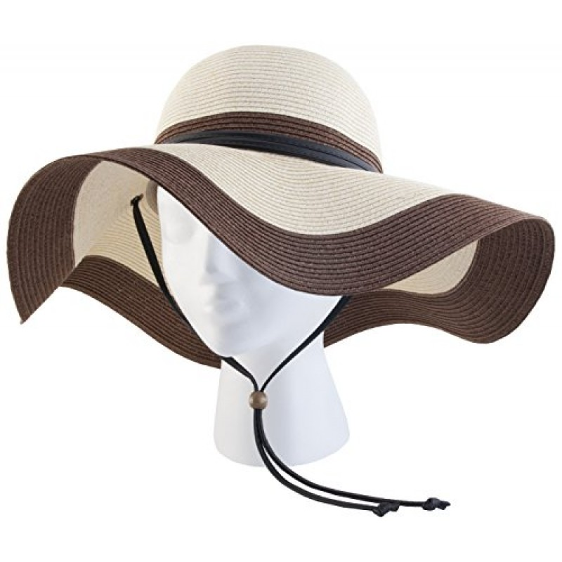 8722a385b7707 Sloggers Women s Wide Brim Braided Sun Hat with Wind Lanyard - Dark Brown - UPF  50+ Maximum Sun Protection ...