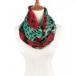 Summer rainbow silk Chiffon lady Ring Loop Scarf Brand Fashion Scarf Leopard Print Infinity Tube Scarves For Women femme