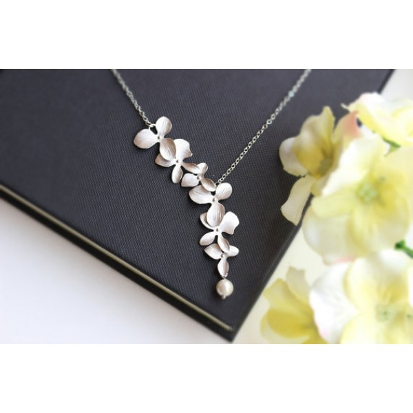 Todorova Orchid Flower with Simulated Pearl Necklace Pendant Charm Long Chain Collars Necklace for Women Chic Party Gift Jewelry