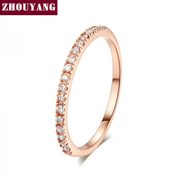 Top Quality Gold Concise Classical CZ Wedding Ring Rose Gold Color Austrian Crystals Wholesale ZYR132 ZYR133