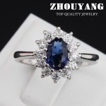 Top Quality Princess Kate Blue Gem Created Blue Crystal Silver Color Wedding Finger Crystal Ring Brand Jewelry for Women ZYR076