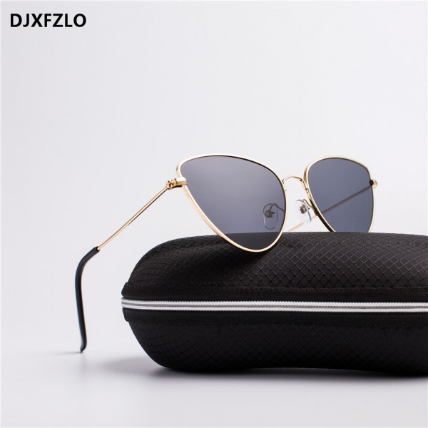 Trendy Tinted Color Vintage Shaped Sun glasses Famle Drop Shaped Ocean Cat Eye Sunglasses Women Brand Designer Oculos de sol