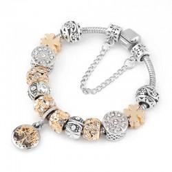 Vintage Silver Color Charm Bracelet with Tree of life Pendant & Gold Crystal Ball Pandora Bracelet