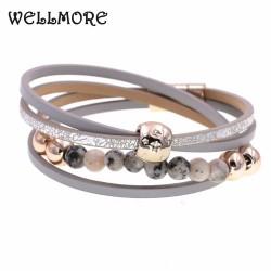 WELLMORE 12 colors two Layer leather bracelet fashion beads charm bracelets for women Trendy Bohemian bracelet femme wholesale