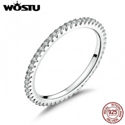 WOSTU  Genuine 100% 925 Sterling Silver Simple Geometric Round Single Stackable Finger Rings For Women Engagement Jewelry CQR066