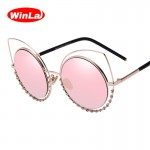 Winla 2017 Fashion Sexy Cat Eye Sunglasses Women Coating Reflective Mirror Diamond Decoration Glasses Female Shades UV400 WL1016