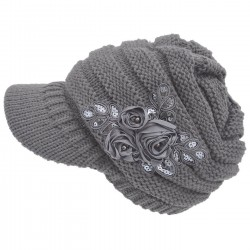 Women's Cable Knit Visor Hat with Flower Accent Grey Color