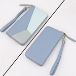 Women's Long Leather Card Holder Purse Zipper Buckle Hit Color Wallet