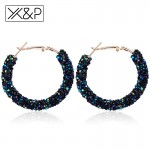 X&P Fashion Charm Austrian Crystal Drop Earrings for Women Girl Geometric Round Shiny Rhinestone Big Dangle Earring Jewelry Gift
