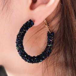 X&P Fashion Charm Austrian Crystal Drop Earrings for Women Girl Geometric Round Shiny Rhinestone Big Dangle Earring Jewelry Gift
