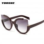YOOSKE Sexy Cat Eye Sunglasses Women Brand Designer Mirror Sun Glasses Ladies Round Lens Shades for Women Eyewear UV400