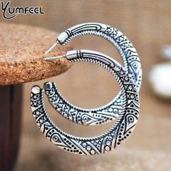 Yumfeel New Vintage Jewelry Earrings Antique Golden Vintage Tibetan Silver Hoop Earrings for Women Gifts Vintage Hoops