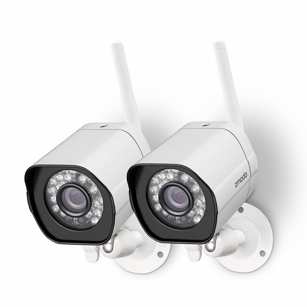 Zmodo Wireless Security Camera System (2 pack) Smart HD Outdoor WiFi IP Cameras with Night Vision