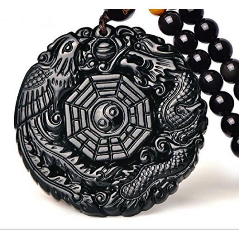 Natural Obsidian Dragon Pendant Mascot